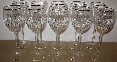 "Lot Of 10 Lenox Vintage Jewel Platinum Crystal Wine Glasses 8 1/8"" 10Oz Made Usa"