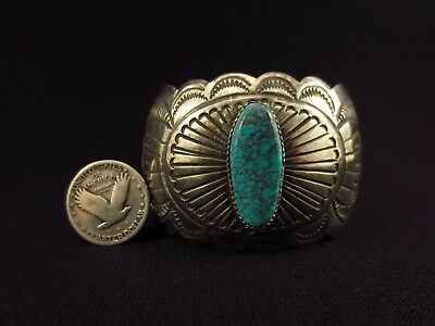 Navajo Bracelet - Sterling Silver and Turquoise Wide Cuff