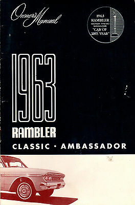 1963 AMC Rambler Classic Ambassador Original Owners Manual