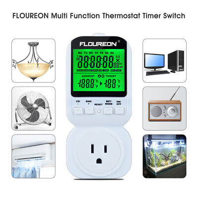 LCD Thermostat Switch Timer Socket Plug 12/24H Heat Cool Temperature Controller