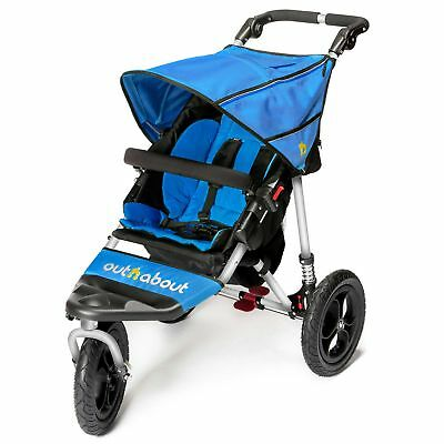 Out N About Nipper 360 Single Buggy V4 Pushchair/Pram & Raincover - Lagoon Blue