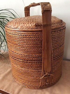 Large woven Chinese Wedding /pie stacker Basket 3-Tier Wicker w/ Bamboo Frame