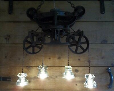 Glass Insulator Light Fixture-Antique HAY TROLLEY Barn Pulley Light Chandelier