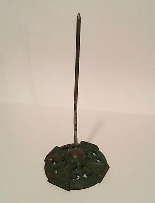 Vintage Cast Iron Receipt Spike Green Metal Holder with Ornate Base
