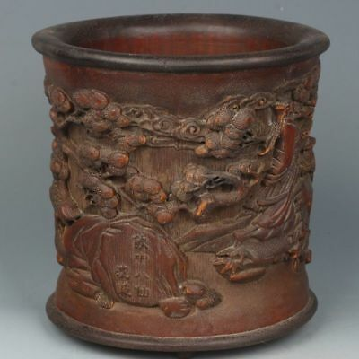 Chinese Exquisite Hand-carved Pines and figures carving bamboo Pen holder