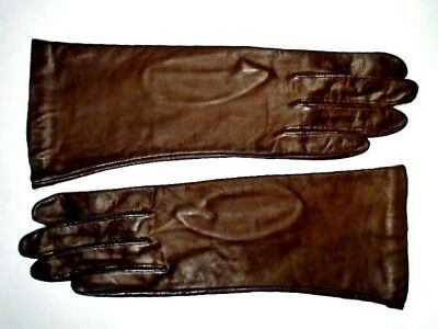 Vintage Brown Antron Lined Leather Gloves ~ Size 8 ~ Never Worn