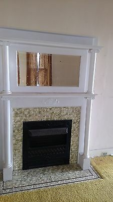 Vintage Fireplace Mantle Ornate With Bevelled Mirror And Columns