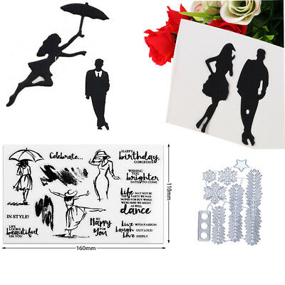Dancing Women Transparent Clear Stamps & Cutting Dies for DIY Scrapbooking Album