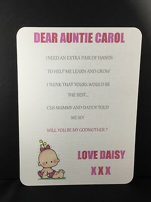 Will You Be My Godmother Card, Godfather, Godparents, Personalised from child