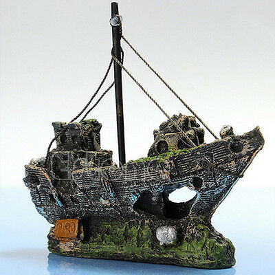 Aquarium Ornament Wreck Sailing Boat Sunk Ship Destroyer Fish Tank Cave Decor R