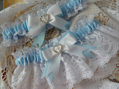 WEDDING GARTER SATIN AND LACE crystals hand made something blue bride gift heart