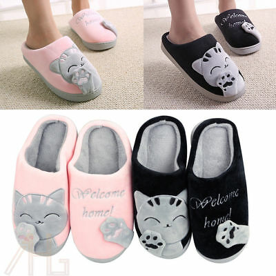 Women Home Slippers Cartoon Cat Home Non-slip Soft Couple Floor Shoes Winter
