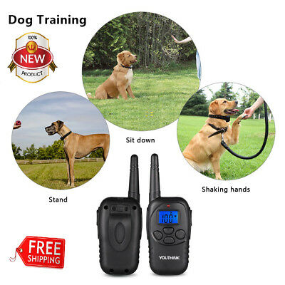 Electric Remote Dog Training Shock Collar 330 Yard Waterproof Rechargeable LCD