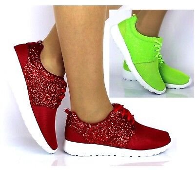 Ladies Red Green Glitter Fashion Trainers Casual Gym Sport Fitness Sneakers Size