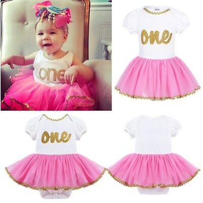 Baby Girl 1st First Birthday Tutu Skirts Romper Clothes Set Cake Smash Outfits