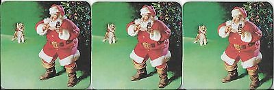 Coca Cola Coasters - Santa Says Sh to Scotty Scottish Terrier Dog - Set of 3