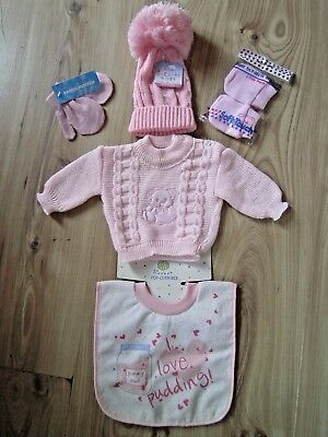 5 Piece Baby 3-6 m Pink Gift Set Cable Knit Jumper Hat Mittens Scratch Mitts Bib