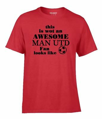 Football Team Game Soccer T Shirt Awesome MAN UTD  Manchester  Fan Supporter