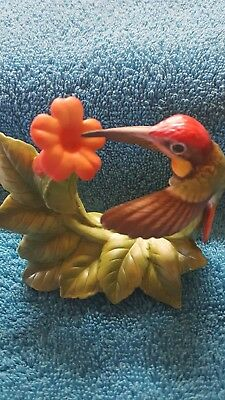 Ruby-Topaz Hummingbird With Trumpet Creeper Figurine BRONSON COLLECTIBLE 1996