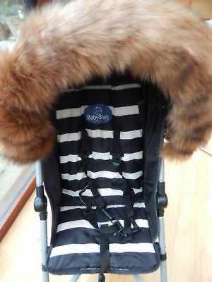 Pram Pushchair Dark Beige Faux Fur Hood Trim - Fits All Hoods  - Stunning