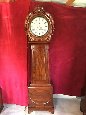 A Mid 19ith Century West Coast Drumhead Decorated Longcase Grandfather Clock