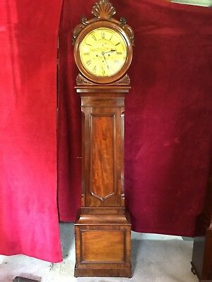 19th century Scottish Drumhead Mahogany Longcase Grandfather Clock