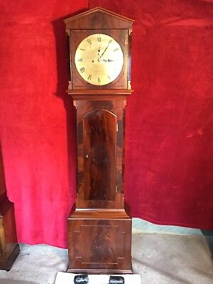 19th Century Figured Mahogany Longcase Grandfather Clock