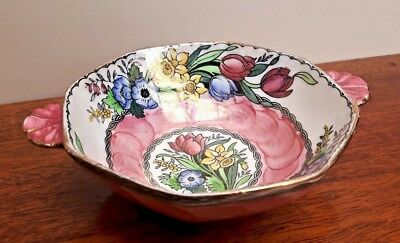 Maling Small Lustre Quaich Style Bowl Springtime Pink 6525 Scalloped handles