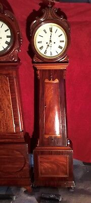 19th Ct Flame Mahogany Scottish Drumhead Longcase Grandfather Clock