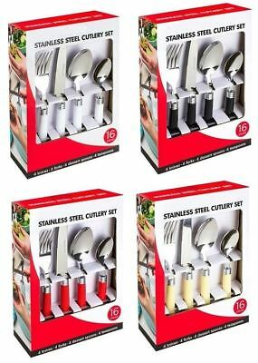 New 16Pc Cutlery Set Plastic Handle Food Home Dining Table Stainless Steel