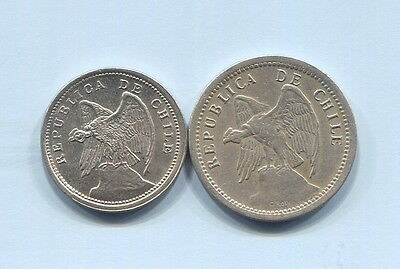 Chile - Two Beautiful Historical 1940 Coins, 10 & 20 Centavos