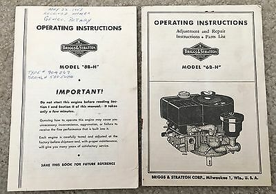2 Briggs & Stratton 6B-H + 8B-H Gasoline Engine Operating Manuals / Parts Lists