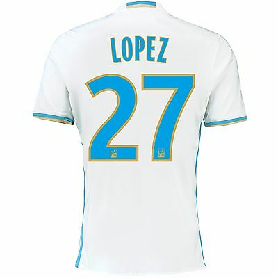 Adult L Olympique de Marseille Home Shirt 16/17 Lopez 27 - Ligue 1 Badge M84