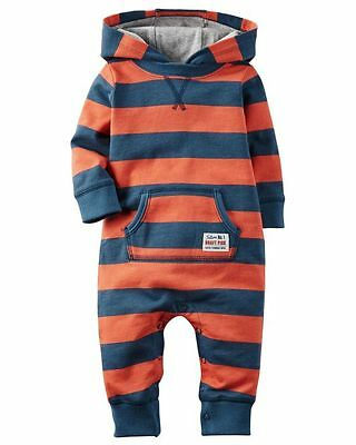 Baby Boys CARTERS Navy & Orange Striped Hooded Jumpsuit Playsuit 6 Months BNWT