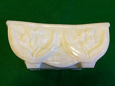 Vintage Imperial Akro Agate Slag Glass Rectangle Lily Flower Pot Planter