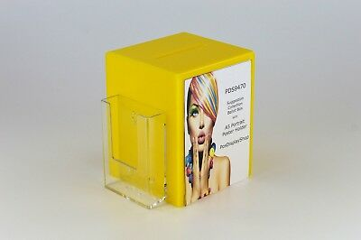 Collection Suggestion Box with Leaflet Holder + A5 Poster Holder PDS9470 Yellow