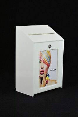 Collection Box Suggestion Box - White Acrylic - Lockable - PDS9463 White