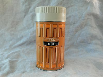 Vintage 1970 King Seeley Metal Thermos Model 6263 Pint Size Orange and Brown
