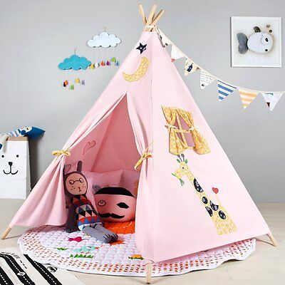 Children's Pink Kids Teepee. Girls Play tent playhouse, wigwam Tipi. UK STOCK
