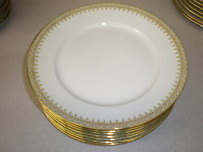 12 Wm. Guerin LIMOGES France Luncheon Plates - Green & Pink Border