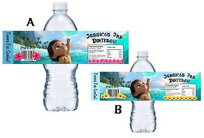 10 Baby Moana Personalized Birthday Party Favors Water Bottle Labels Wrappers