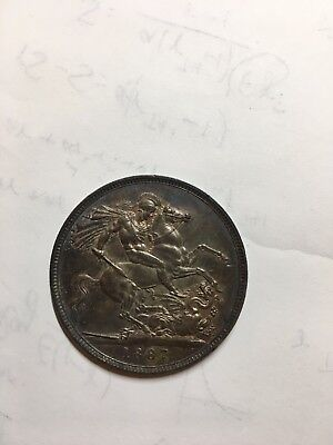 Great Britain 1887 Victoria Crown Silver Coin Uncirculated with Deep Toning