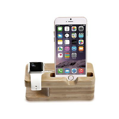 Portable Bamboo Wood Dual Charging Dock Station iWatch Tablet Cell Phone Cradle