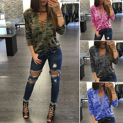damen lace up bluse sweatshirt pullover pulli tops. Black Bedroom Furniture Sets. Home Design Ideas
