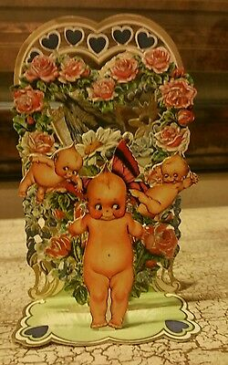 Vintage Style 3D Pop-Up HALLMARK  Card Die-Cut Cupiesr w/ Flowers