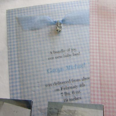 Blue and White Baby Announcements with Bootie Charms, Box of 50
