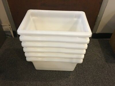 "CASE of 6 CAMBRO food storage boxes 12"" x 18"" x 9"" WHITE NSF"