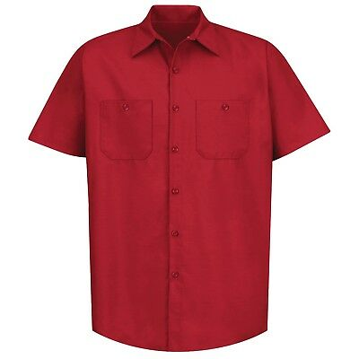 Red Kap Mens Short Sleeve Industrial Work Shirt - Red