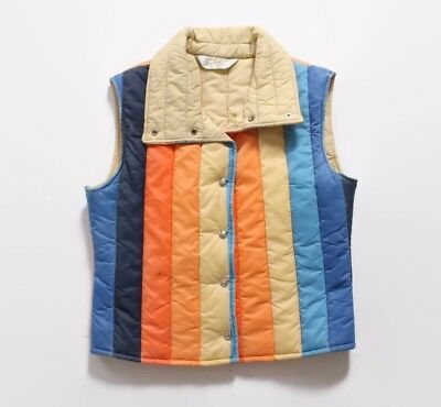 VTG 70s Fitted Cropped Roffe Striped Nylon Ski Vest Jacket XS - S