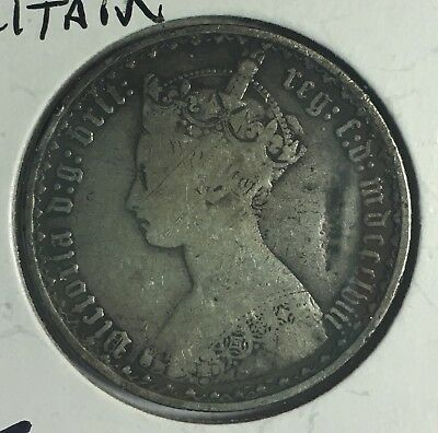 Great Britain 1858 Florin Queen Victoria Silver Gothic Coin